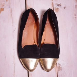 Madewell  Black & Gold Cap Toe Teddy Loafers